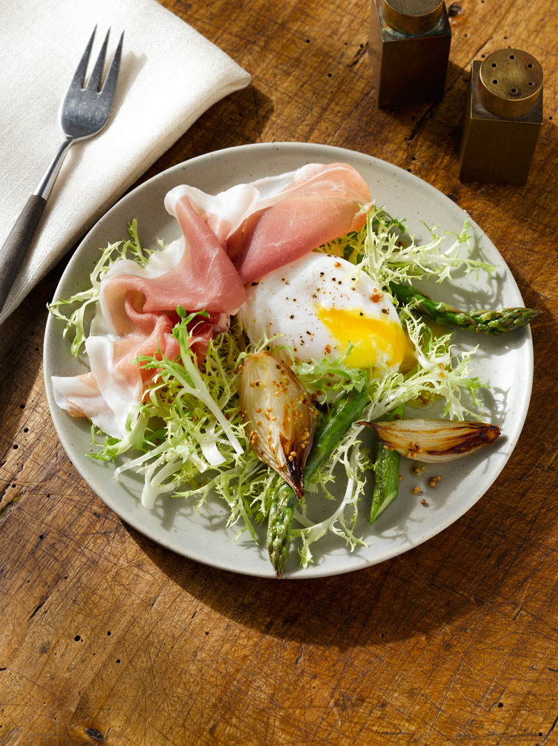 Frisee Salad With Asparagus And Prosciutto Shallots And Mustard Dressing