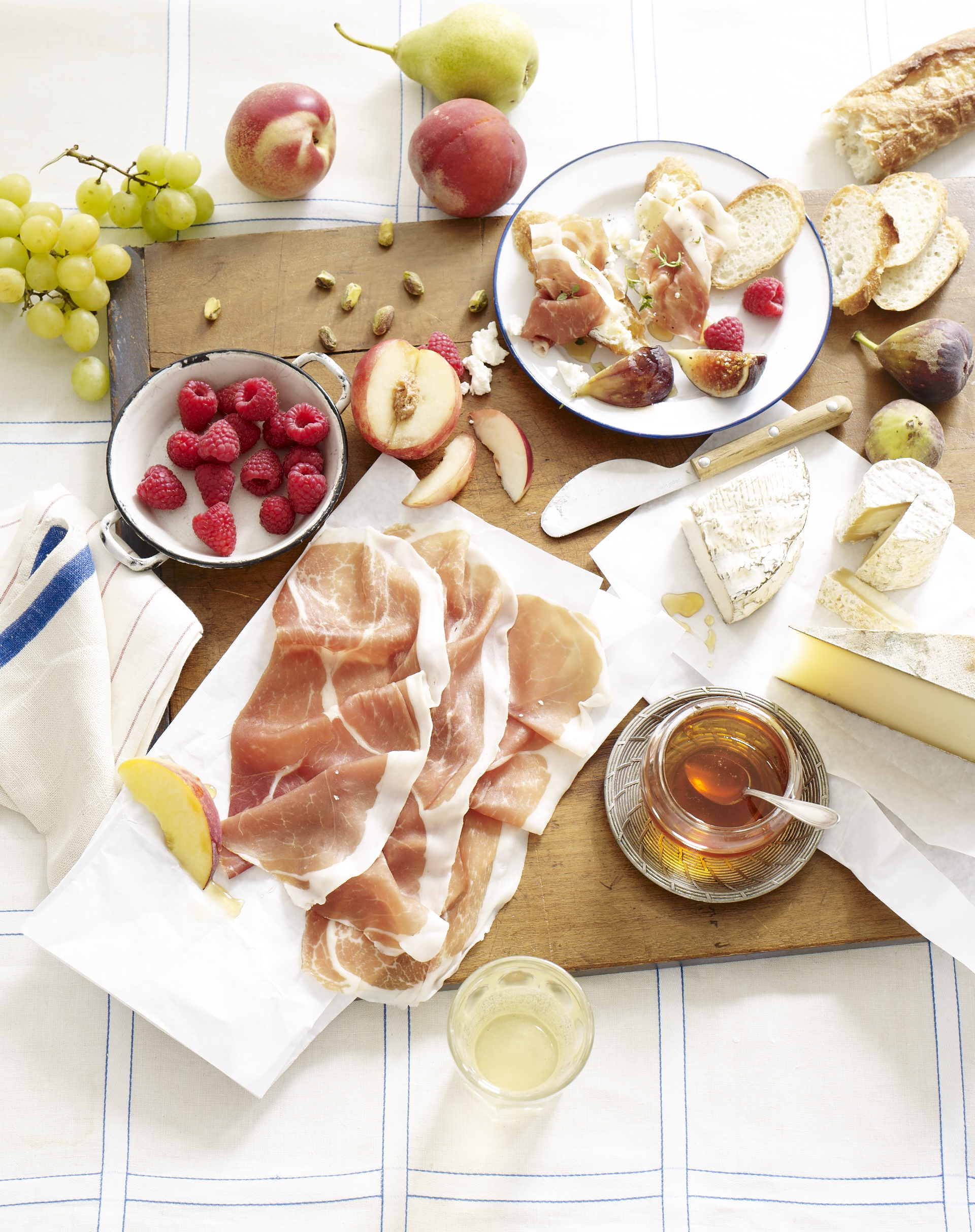 Picnic Spread with Prosciutto and Cheese