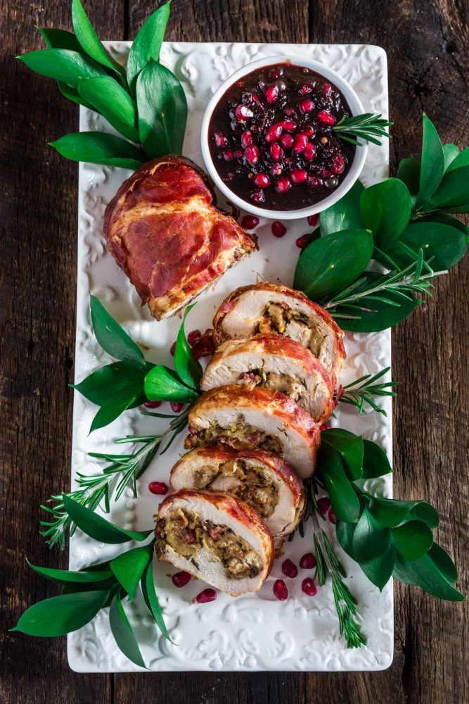 Prosciutto Wrapped Turkey Roulade With Pomegranate Port Reduction